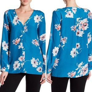 Joie NEW Blue Michi Silk V-Neck Floral Blouse